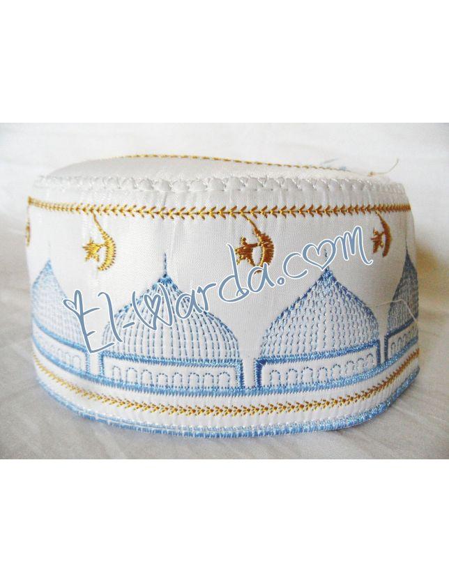 Chachia rigide blanc avec motif bleu et doré