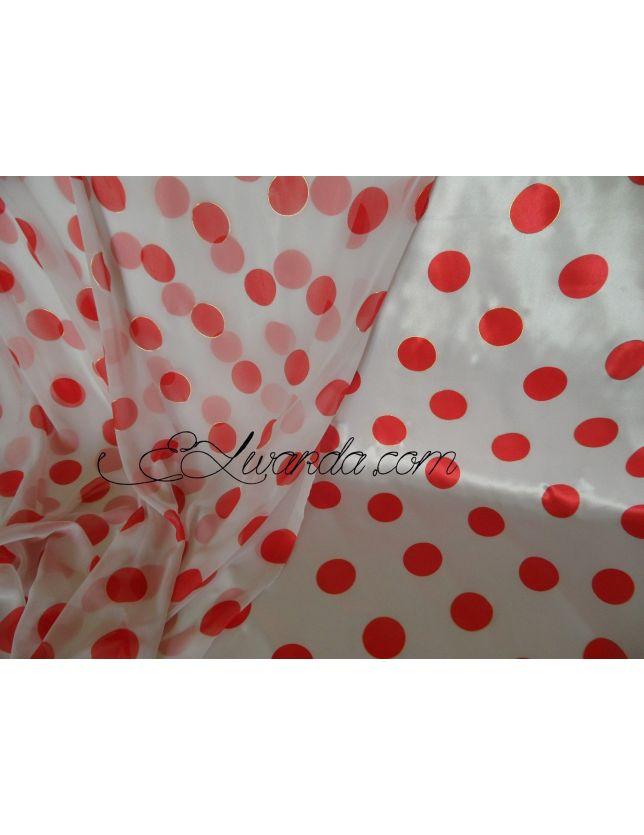 Tissu Satin  blanc & rouges.