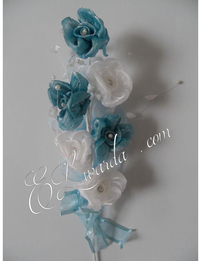 Lot de 6 fleur à dragées Blanches et bleu turquoie.
