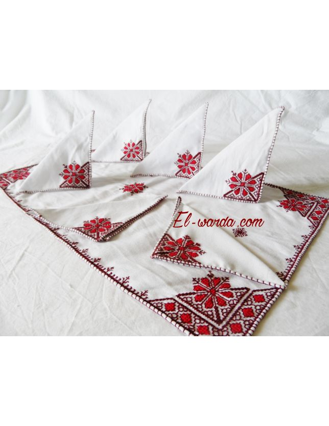 Set serviette de table terz el fessi el - Ensemble nappe et serviette de table ...