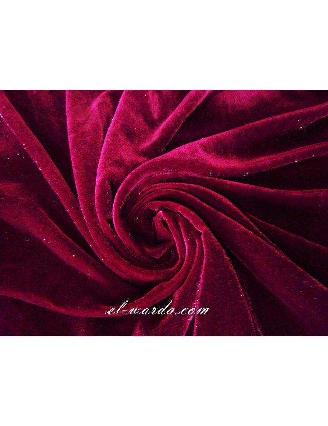 Coupon de tissu velours bordeaux pailleté
