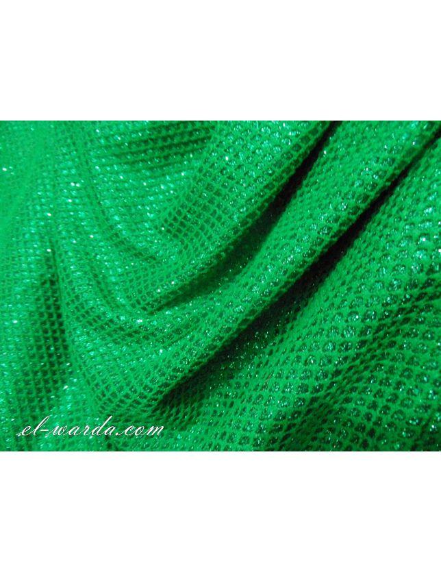 tissu gaufré paillté vert