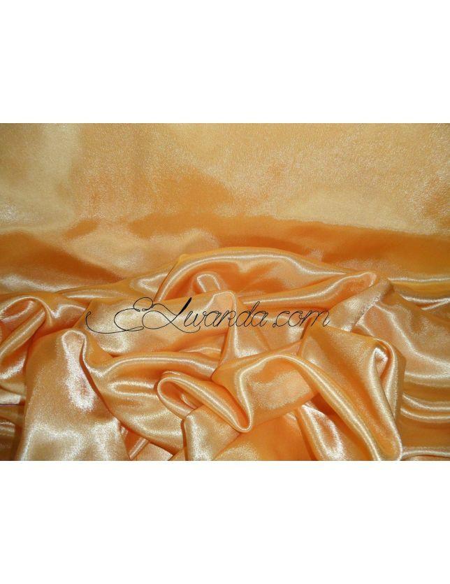 TISSU SATIN DE SOIE / ORANGE abricot