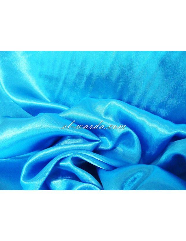 TISSU SATIN DE SOIE / bleu turquoise