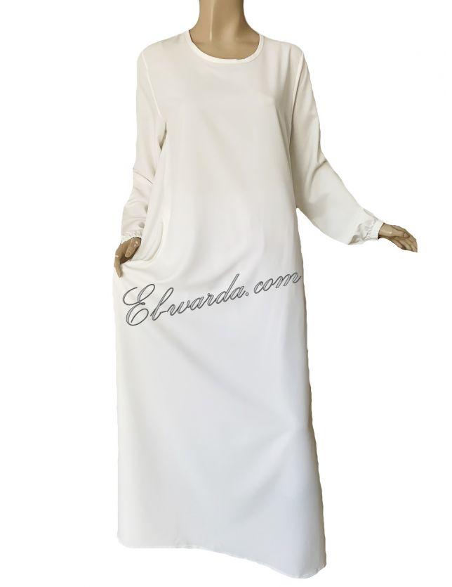 Abaya simple blanc cassé