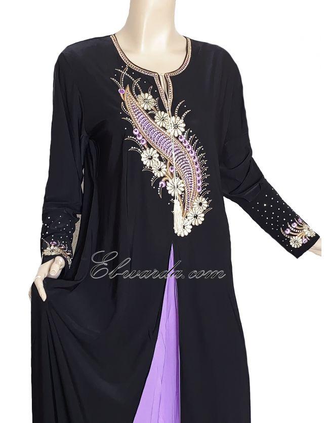 Abaya noir et violet.