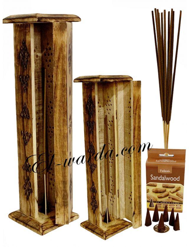 Porte Encens en Bois pour bâtons ou cônes
